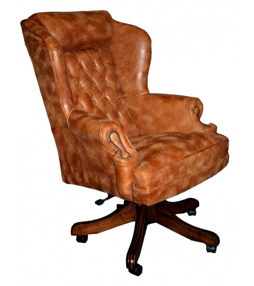 Classic Wing Traditional Leather Chesterfield Office Swivel Chair