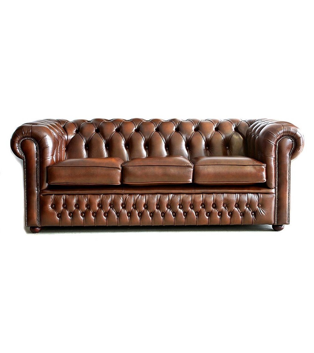 Farnworth Traditional Handmade English Leather Chesterfield Sofa