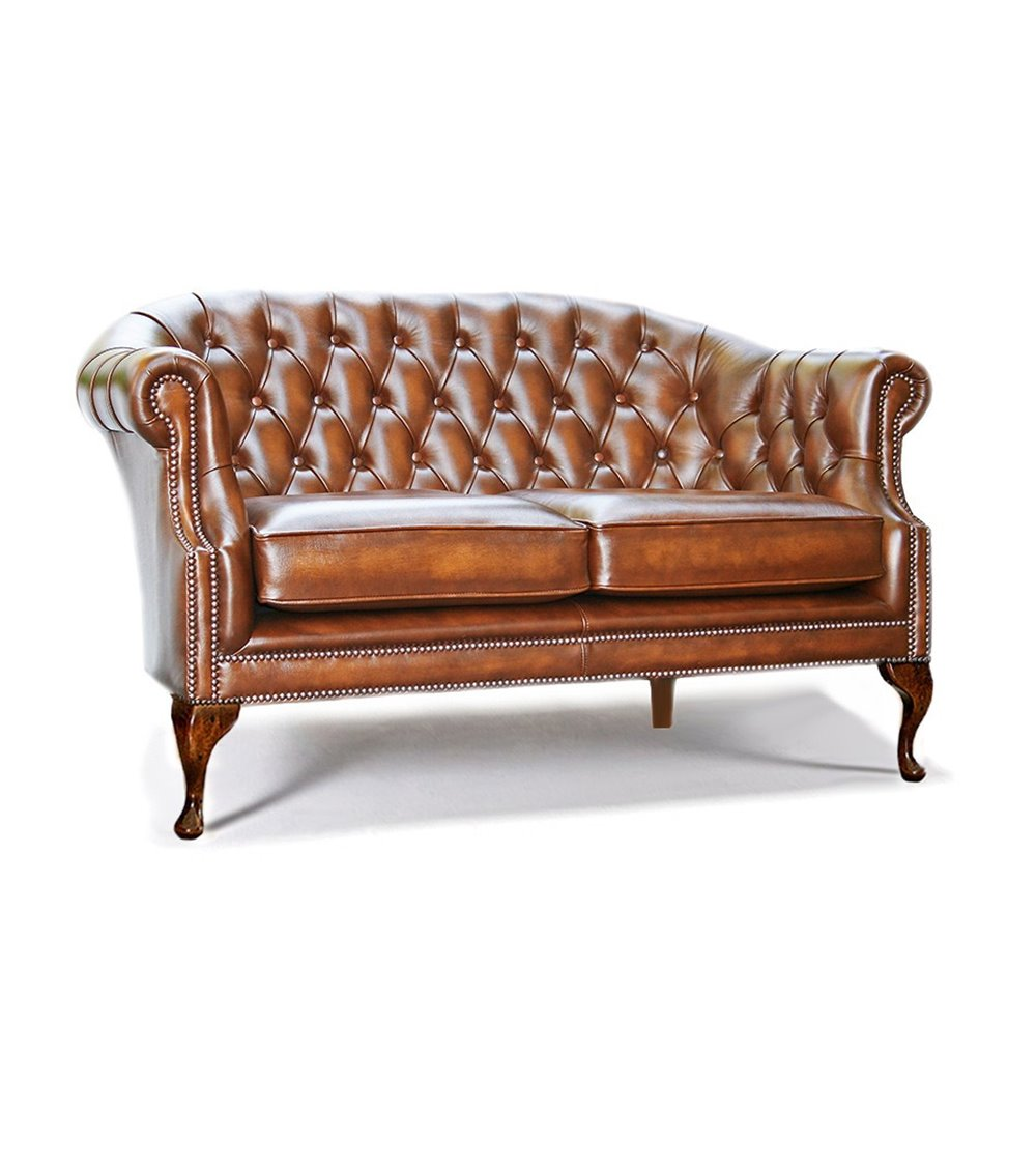 Victorian Tub Handmade English Leather Chesterfield 2 Seater