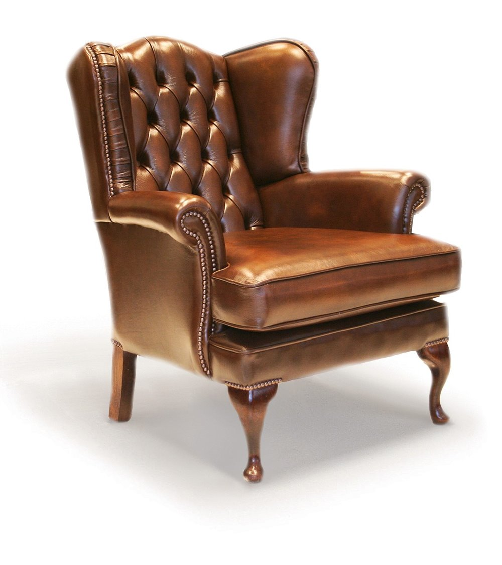 Vintage Leather Wing Chair in Cigar leather