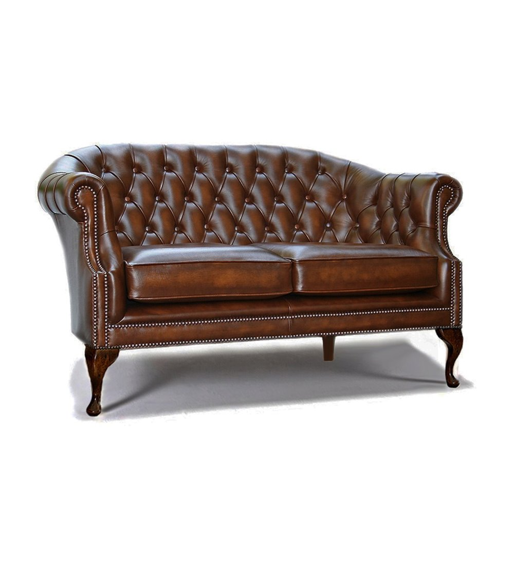 Gladstone Handmade Traditional English Leather Chesterfield Chai