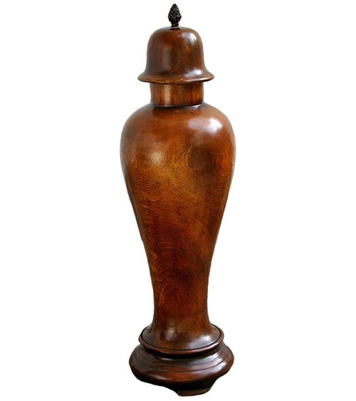 Urn Traditionally Handmade in Solid Walnut with Brass Finial