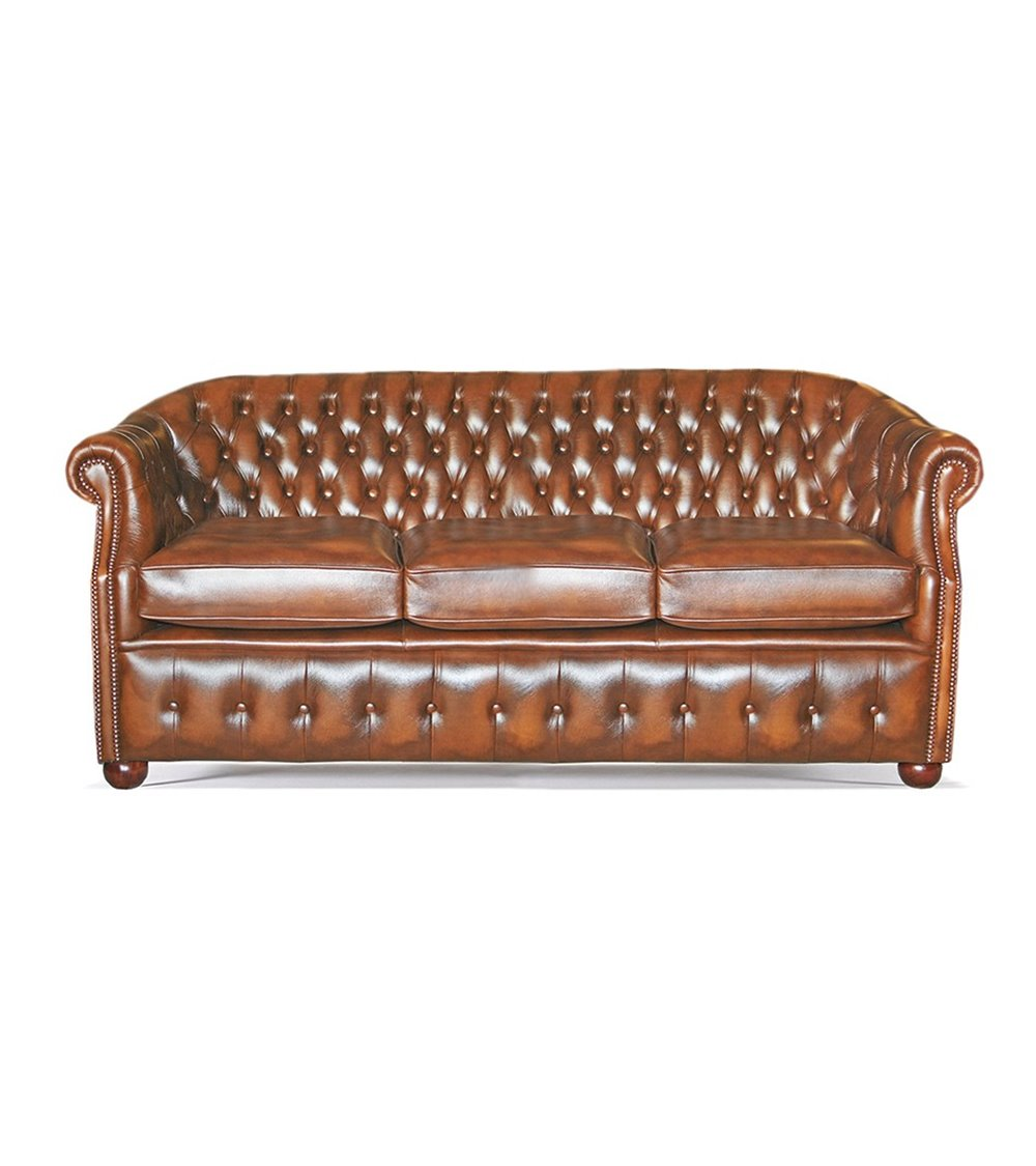 Scroll Wing Handmade English Leather Chesterfield Chair