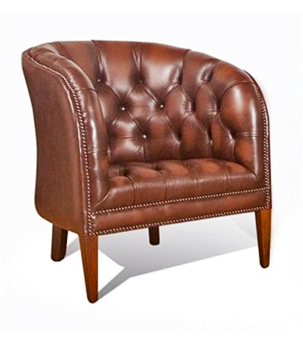 Orion Handmade Traditional English Leather Chesterfield Swivel