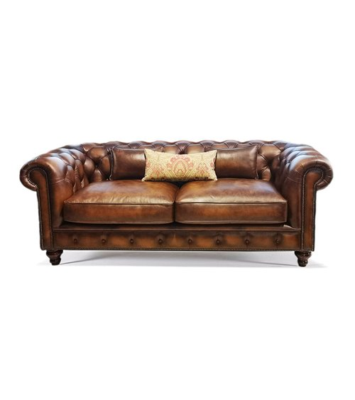 Blenheim English Leather Handmade Sofa