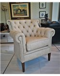 Chaise Lounge French Handmade Leather Chesterfield