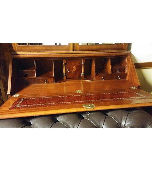English Traditional Handmade Bureau with Bookcase