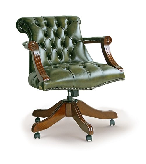 Admirals Swivel Handmade Chesterfield Leather Office Chair