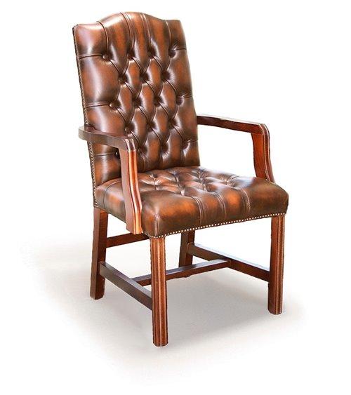 Marlborough Traditional Handmade English Leather Chesterfield Ar