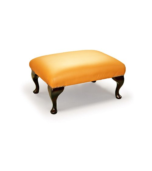 Queen Anne Handmade Traditional English Footstool Leather Plain