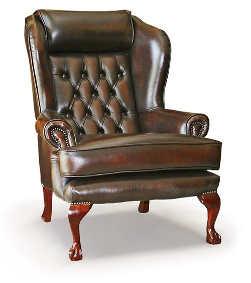 Chairman's Executive Leather Chesterfield Wing Chair