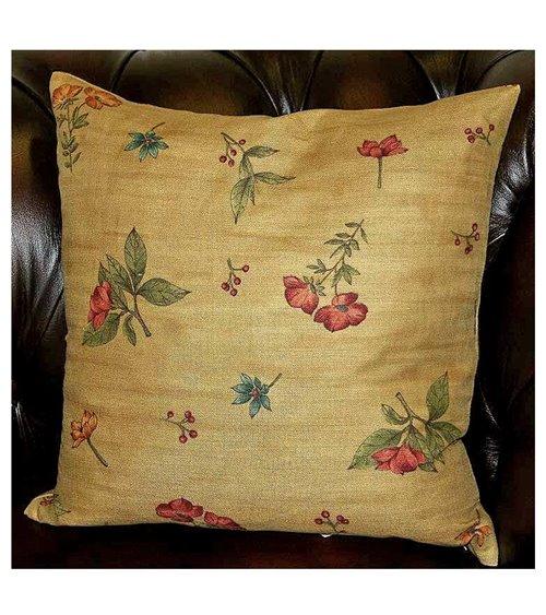 Floral Springs Gold Print Handmade English Cushion