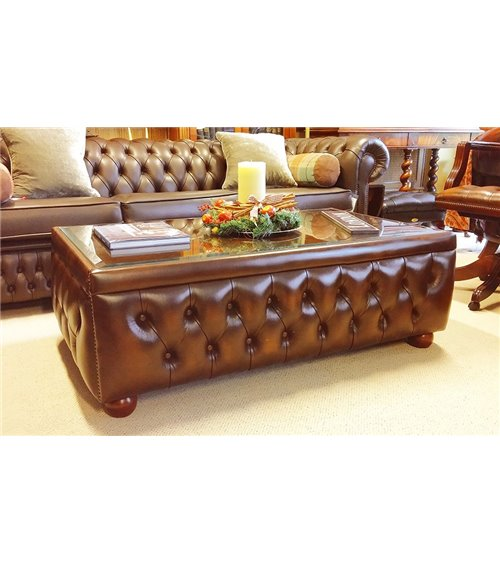 Chesterfield Leather Handmade English Coffee Table