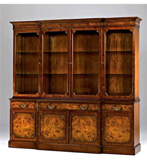 Breakfront Bookcase Burl, 4 door
