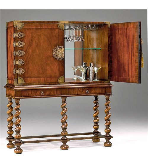 Chippendale Traditionally Handmade English Cocktail Bar Cabinet