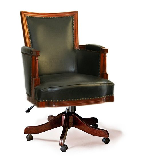 Black Leather Traditional Handmade Office Chair