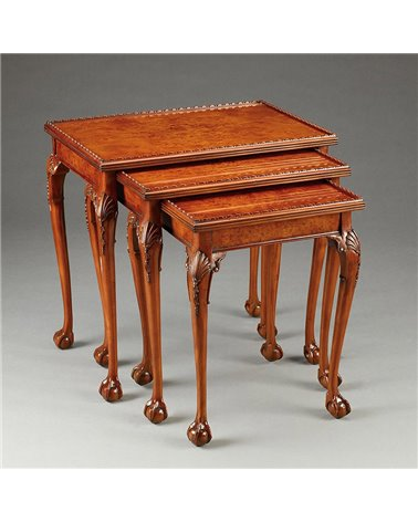 Chippendale Table Set Of Three Nesting Tables, in Burl