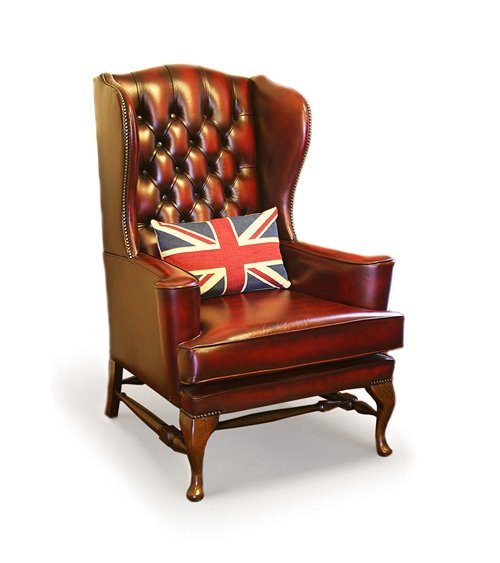 Charm Handmade Traditional English Leather Chesterfield Wing Cha