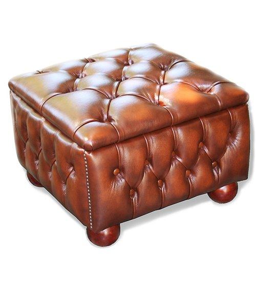 Box Handmade Chesterfield Leather Stool