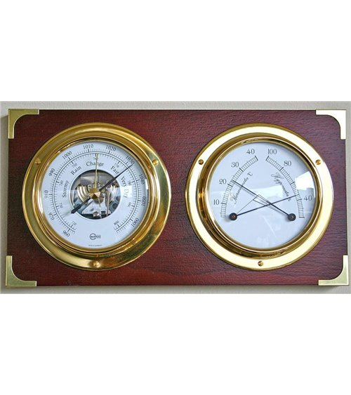 Barometer Thermometer Hydrometer on Solid Wood base Wall Mounted