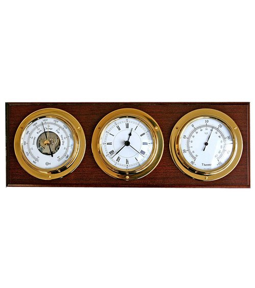 Barometer Thermometer Clock on Solid Wood Base Wall Mounted