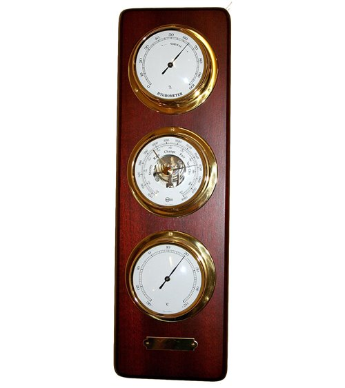 Barometer Thermometer Hydrometer Traditional Handmade on Solid W