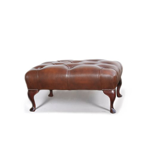 Queen Anne Chesterfield Leather Seat Footstool