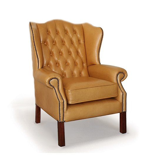 Classic Wing English Leather Chesterfield Chair