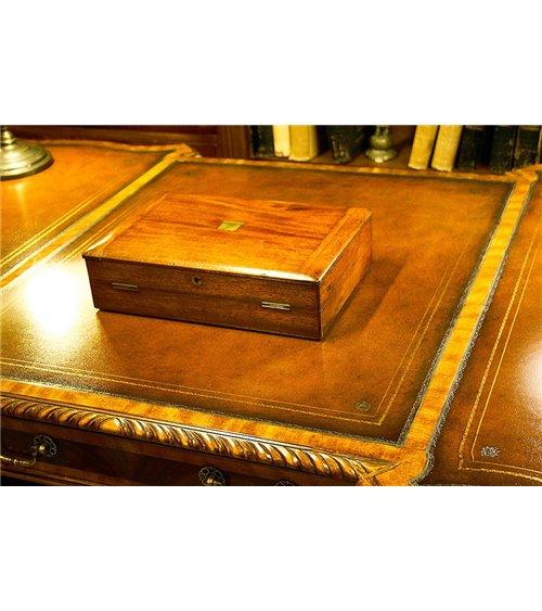 Mahogany Vintage Desk Tidy with Blank Brass Cartouche
