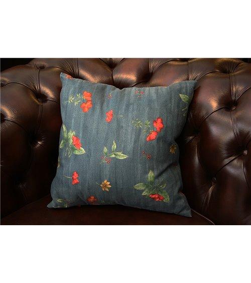 Floral Springs Print in Blue Cushion