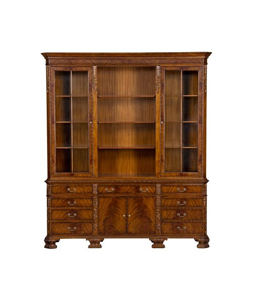George II Hand Carved Bookcase with Lights