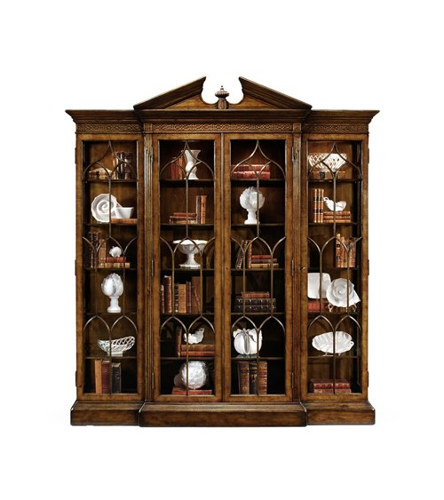 Triple Breakfront Walnut Display Cabinet with Pediment
